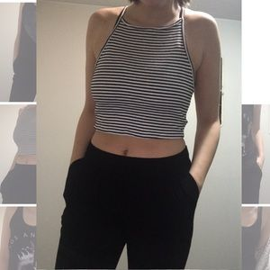 Black and white stripe crop tank top
